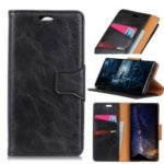 Crazy Horse Split Leather Wallet Case for BlackBerry KEY2 LE – Black