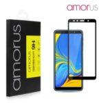 AMORUS Full Glue Tempered Glass Full Screen Shield Anti-scratches for Samsung Galaxy A7 (2018) – Black