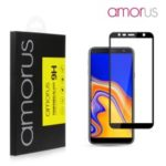 AMORUS Silk Printing Full Size 9H Tempered Glass [Full Glue] Anti-explosion Screen Protector for Samsung Galaxy J6+ (2018) – Black