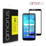 AMORUS Full Glue Silk Printing Tempered Glass Full Screen Protector for Huawei Y5 (2018) / Y5 Prime (2018) / Honor 7s / Play 7 – Black