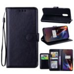 5 Card Slots Leather Wallet Case for OnePlus 6T – Black