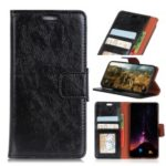 Textured Split Leather Wallet Case for Wiko Tommy3 Plus – Black