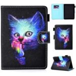 For Kobo Clara HD (2018) Leather Case Patterned Card Holder Stand Cover – Colorful Cat