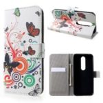 Pattern Printing PU Leather Magnetic Wallet Stand Protective Phone Shell for Nokia 6.1 Plus / X6 – Butterfly and Flower