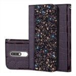 Crocodile Texture Glittery Sequins Splicing PU Leather Auto-absorbed Phone Casing for Nokia 5.1 – Black