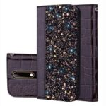 Crocodile Texture Glittery Sequins Splicing PU Leather Auto-absorbed Card Slot Case for Nokia 6.1 (5.5-inch) – Black
