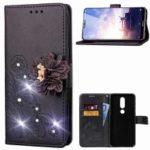 For Nokia 6.1 Plus / X6 3D Flower Leather Case / Wallet / Imprint Flower / Rhinestone Decor – Black