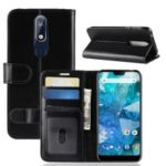 Crazy Horse Magnetic Stand Wallet Leather Mobile Phone Case for Nokia 7.1 – Black