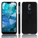 Litchi Skin Leather Coated Hard PC Case for Nokia 7.1 – Black