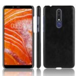 Litchi Texture PU Leather Coated Plastic Mobile Case for Nokia 3.1 Plus – Black