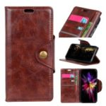 Textured PU Leather Wallet Stand Cellphone Case for Nokia 9 – Brown