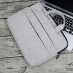 SOYAN Tree Bark Texture PU Leather Handbag for 15-inch Macbook Notebooks – Grey