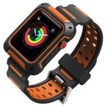Dual Color TPU Smart Watch Band for Apple Watch Series 4 44mm, Series 3 / 2 / 1 42mm – Black / Orange