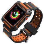 Bi-color TPU Smart Watch Band for Apple Watch Series 4 40mm, Series 3 / 2 / 1 38mm – Black / Orange