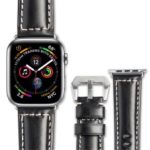 QIALINO Top Layer Cowhide Leather Watch Strap for Apple Watch Series 4 44mm, Series 3 / 2 / 1 42mm – Black