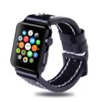 Top Layer Cowhide Leather Watch Band Accessory for Apple Watch Series 4 44mm/3/2/1 42mm – Black