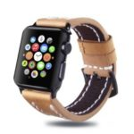 Top Layer Cowhide Leather Watch Strap Accessory for Apple Watch Series 4 44mm/3/2/1 42mm – Brown