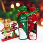 2Pcs/Set Christmas Santa Claus Snowman Wine Bottle Cover Holder Bag Party Decoration, Size: 30 x 12.5cm