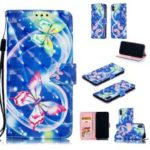 [Light Spot Decor] Patterned Leather Stand Mobile Case for iPhone XS Max 6.5 inch – Butterfly and Heart