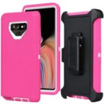 For Samsung Galaxy Note9 N960 Heavy Duty PC + TPU Hybrid Case with [Belt Clip Kickstand] – Rose / White