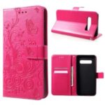 Imprinted Butterfly Flower PU Leather Mobile Case for Samsung Galaxy S10 – Rose