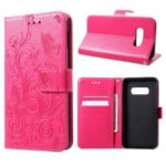 Imprinted Butterfly Flower PU Leather Mobile Case for Samsung Galaxy S10 Lite – Rose