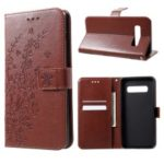 Imprint Flower Wallet Leather Stand Case for Samsung Galaxy S10 Plus – Brown