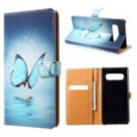 Pattern Printing Leather Wallet Case for Samsung Galaxy S10 Plus – Blue Butterfly