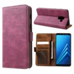 Mesh Pattern Retro Leather Wallet Stand Casing for Samsung Galaxy A8 (2018) – Red