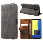 Mesh Pattern Retro Leather Wallet Stand Casing for Samsung Galaxy J6 (2018) – Black