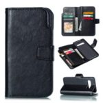 [9 Card Slots] Crazy Horse Leather Wallet Shell for Samsung Galaxy S10 – Black