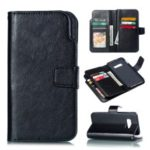 For Samsung Galaxy S10 Lite Leather Case [9 Card Slots] Crazy Horse Wallet Case – Black