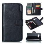 For Samsung Galaxy S10 Plus [9 Card Slots] Crazy Horse Wallet Leather Case – Black