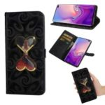 Spiral Texture Hearts Quick Sand Girl Pattern Leather Wallet Mobile Phone Case for Samsung Galaxy S10 – Black