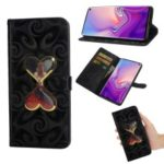 Spiral Texture Hearts Quick Sand Girl Pattern Leather Wallet Case for Samsung Galaxy S10 Plus – Black