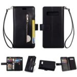 Multi-slot Wallet Zippered Leather Casing for Samsung Galaxy S10 – Black