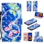 For Samsung Galaxy J4+ Patterned Leather Phone Case [Stand Wallet] [Light Spot Decor] – Butterfly and Heart