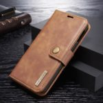DG.MING Detachable 2-in-1 Split Leather Wallet Phone Shell + PC Back Case for Samsung Galaxy S10 Lite – Brown