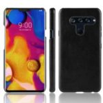 Litchi Skin Leather Coated Hard PC Case for LG V40 ThinQ – Black