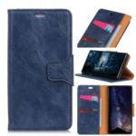 Crazy Horse Magnetic Leather Stand Case for LG G7 One – Blue