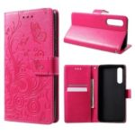 Imprinted Butterfly Flower PU Leather Mobile Case for Huawei P30 – Rose