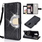 For Huawei Mate 20 Lite Glitter Powder Leather Case [Rhinestone Decor] [with Mirror] – Black