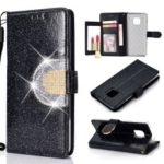 For Huawei Mate 20 Pro Glitter Powder Leather Case [Rhinestone Decor] [with Mirror] – Black