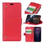 Retro Style Leather Magnetic Stand Wallet Cover for Huawei P30 Lite – Red