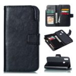 9 Card Slots Crazy Horse Leather Wallet Case for Huawei Honor 10 Lite – Black