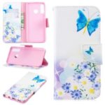 Pattern Printing Wallet Stand Leather Case for Huawei P30 Lite – Butterfly and Daisy