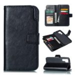 [9 Card Slots] Crazy Horse Leather Wallet Case for Huawei P30 Pro – Black