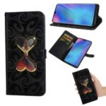 Spiral Texture Hearts Quick Sand Girl Pattern Leather Wallet Case for Huawei P30 Pro – Black