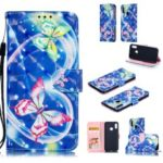Pattern Printing Light Spot Decor Leather Wallet Case for Huawei Honor 10 Lite / P Smart (2019) – Vivid Butterfly
