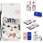 [Light Spot Decor] Patterned Leather Stand Phone Shell for Huawei Mate 20 Lite – Cute Cat